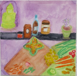 painting depicts ingredients for pasta with peanut sauce