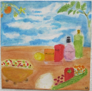 painting depicts Greek salad and ingredients