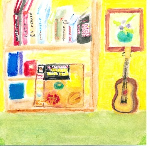 Painting of cookbooks on bookshelves