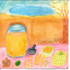 Painting of melons, agua fresca and limes.