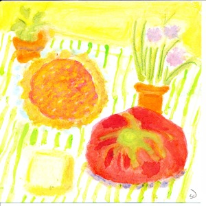 original watercolor of tomato tart and ingredients