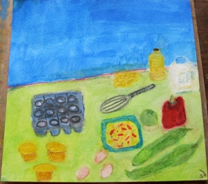 Painting shows New Mexican green chiles with eggs, peppers and corn muffins