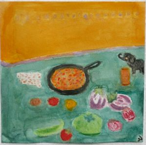 Painting of Bengan Bharta and Ingredients.