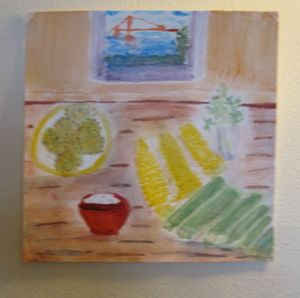 Painting of Zucchini-Feta Pancakes and ingredients.