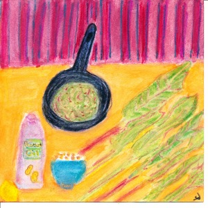 Painting of beet greens, cumin seeds, peanut oil.