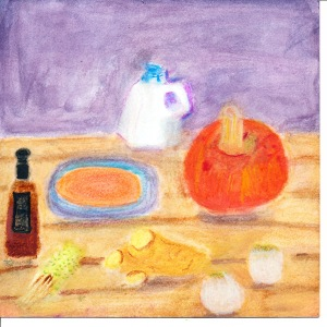 painting of red kabocha squash, soup ingredients