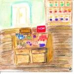 painting of kitchen interior