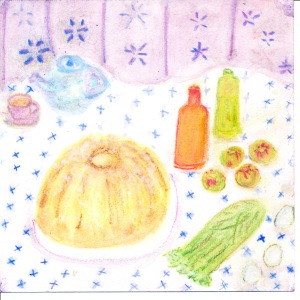painting shows apple cake and ingredients