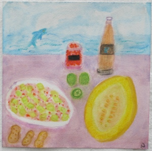 painting depicts Canary melon, limes, chile paste, peanuts and fish sauce