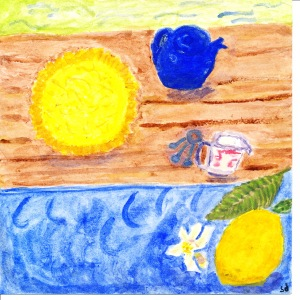 painting of lemon pie and blue teapot