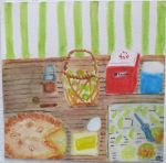 Original watercolor painting shows ingredients for apple pie
