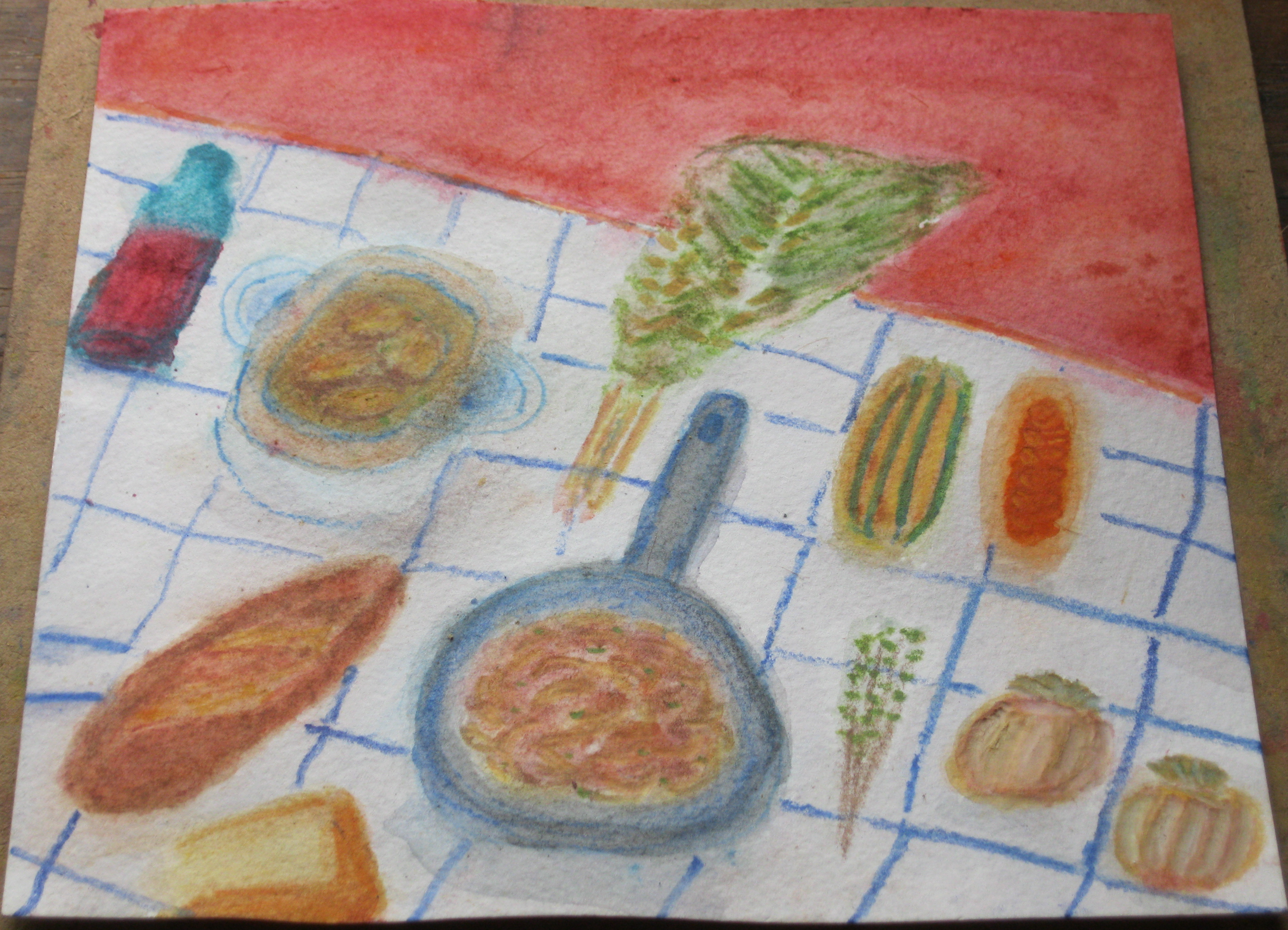 Onion Soup, 8″ x8″ watercolor pencil and gouache. Sharyn Dimmick