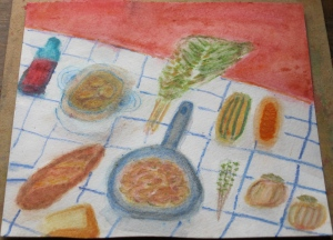 painting depicts onion soup and fall vegetables