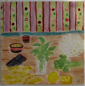 painting shows ingredients for pasta: broccoli, lemons, feta, fresh basil, dried pasta.