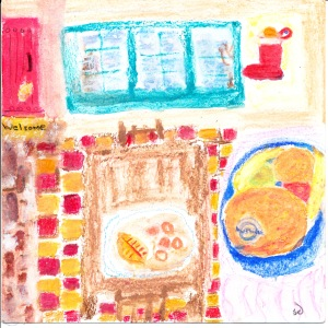 Painting of orange on plate in Mabel's dining room, Taos, New Mexico.