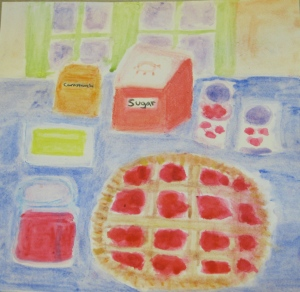 painting of sour cherry pie, cherry syrup and ingredients