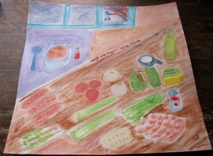 Painting of ingredients for improvised gumbo -- Davis pepper spray incident in background.