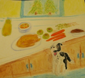 Painting shows ingredients for turkey-apple stew, plus a border collie.