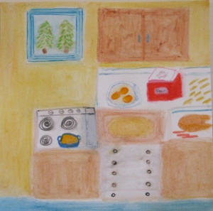 Painting of turkey, noodles and ingredients.