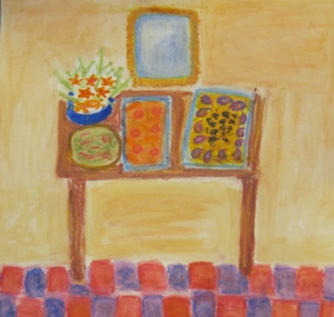 Painting shows lunch buffet at Mabel Dodge Luhan House, Taos, NM.