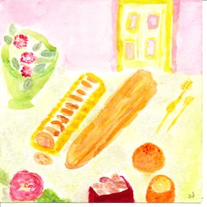 painting shows loaf of Swedish bread