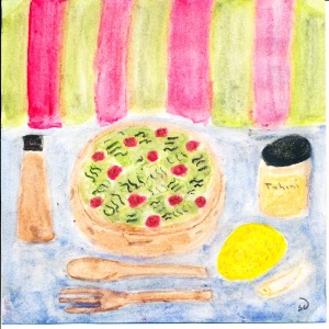 painting of kale salad