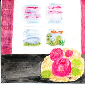 painting of pomegranates, limes and December sunrise.