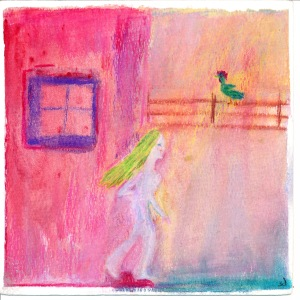 Painting shows pink adobe, woman leaving and rooster on a rail fence.