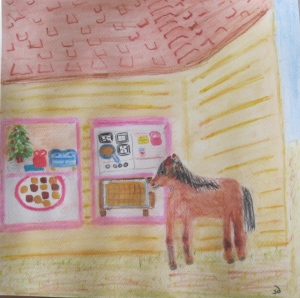 painting shows miniature horse looking through window at caramels.