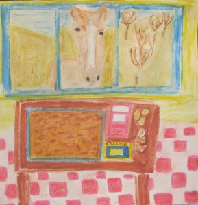 painting of English toffee and ingredients as seen by a horse.