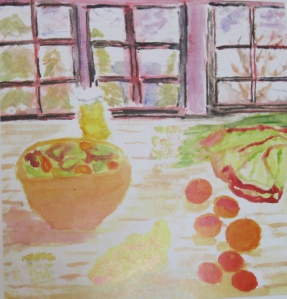 painting depicts salad, varierty of citrus fruits.