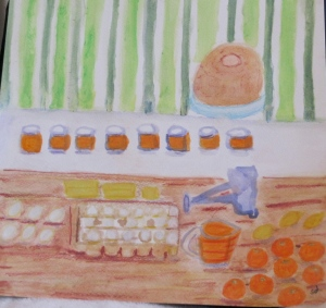 painting of tangerine curd and ingredients