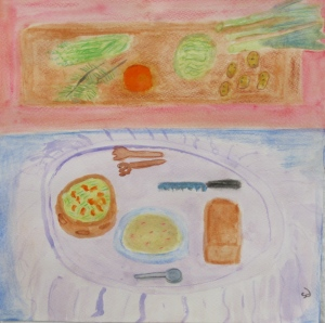 painting depicts meal of bread, soup and salad for January