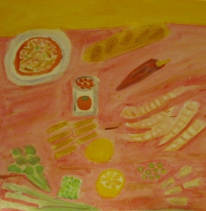 painting depicts shrimp diablo and ingredients