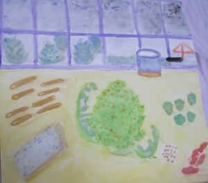 painting depicts ingredients for Romanesco with Gorgonzola Over Pasta recipe