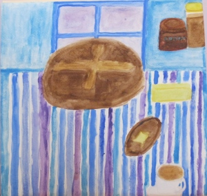 Painting shows loaf of black bread and a few ingredients