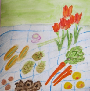 painting shows January fruit, vegetables and tulips from the farmers' market
