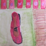 painting shows a single red shoe.