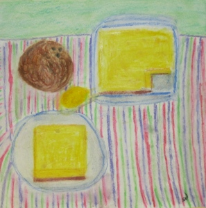 Painting shows lemon bars.