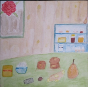 Painting shows pear-ginger muffins and ingredients