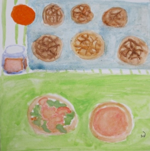 Painting shows Dutch Crunch rolls on baking sheet, plus sandwich on a roll.