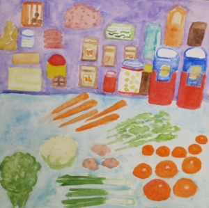Painting depicts food items procured in weekly grocery shopping