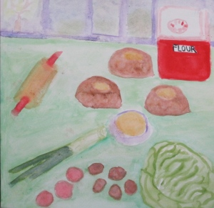 Painting shows knishes and ingredients.