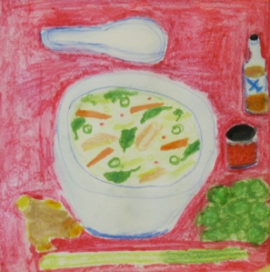 painting shows bowl of chicken-coconut soup with Asian condiments