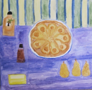 Painting shows pear tart tatin and ingredients.
