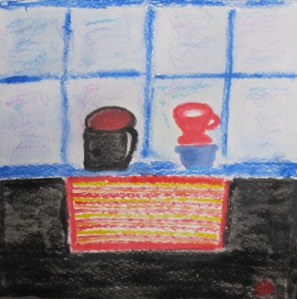 painting of coffee in mug, filter cone, place mat.