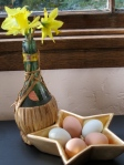 Original photo by Sharyn DImmick of eggs in a star dish, plus daffodil bouquet.