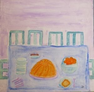original watercolor painting of clementine bundt cake