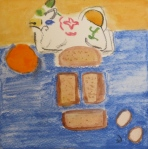 Painting shows bread for French toast, eggs, orange.