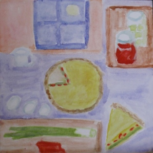 Painting shows leek-feta quiche and ingredients.